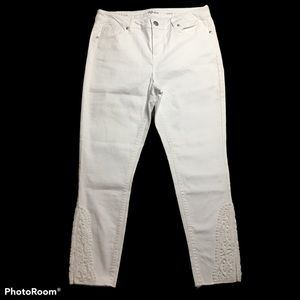 Style & Co White Skinny Ankle Pant Crochet Jeans